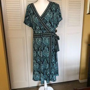 Paisley teal & black Apt 9 faux wrap dress 2x